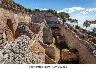 Mighty ruins of Tiberius Villa Jovis on island Capri, Italy