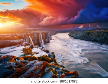 Mighty stream of breathtaking Selfoss cascade. Location place Vatnajokull National Park, Iceland, Europe. Vibrant photo wallpaper. Image of most popular world landmarks. Discover the world of beauty.