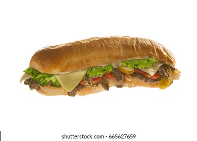 Mighty sub sandwich hoagie isolated on white background