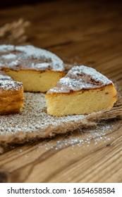 Migliaccio. Typical Campania sweet made with ricotta and semolina.