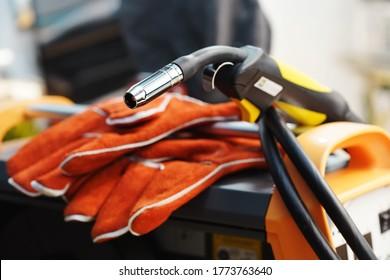 MIG/MAG welding gun or Mig welding torch  .selective focus