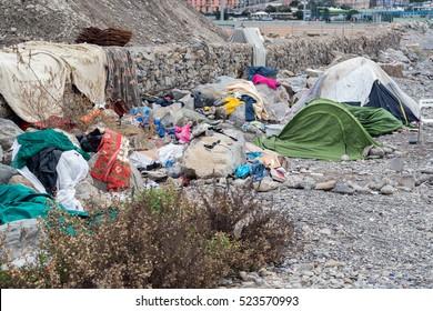 Migrant tent in Genoa beach, Italy