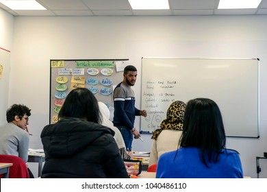 Migrants from Africa, Asia and the Middle East learn German in the class of the international school Inlingua in Halle (Saale), Germany, 07.03.2018.