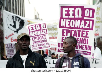 Migrants and members of labor unions participate in a rally against racism and fascism in Thessaloniki, Greece on April 6, 2012