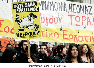 Migrants and members of labor unions participate in a rally against racism and fascism in Thessaloniki, Greece on March 30, 2013