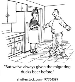 migrating ducks like their beer from family