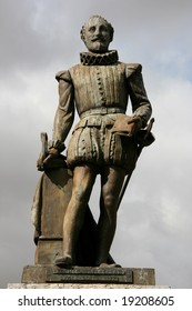 Miguel de Cervantes - famous Spanish novelist, poet and playwright. Statue in Valladolid, Spain.