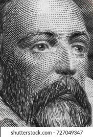 Miguel de Cervantes portrait on Spain 100 pesetas banknote (1928) macro, great Spanish writer.