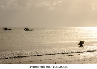 São Miguel do Gostoso, Rio Grande do Norte/Brazil - 06-21-2018: Silhouette of a fisherman entering the sea with a fishing net on the back. Fishing boats background.