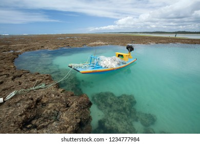 São Miguel dos Milagres, Alagoas / Brazil - 09/14/2015: Fishing raft anchored in Toque Beach Corals