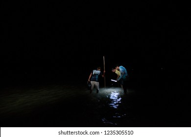 São Miguel dos Milagres, Alagoas / Brazil - 09/14/2015: Night fishing for crab on the beach