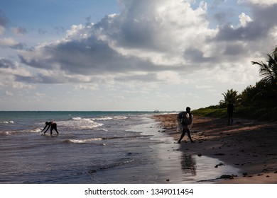 São Miguel dos Milagres, Alagoas / Brazil - Feb 2nd, 2019: Fisherman at São Miguel dos Milagres, Alagoas, Brazil. A beach called Toque (praia do toque). Clear water, Paradise beach.