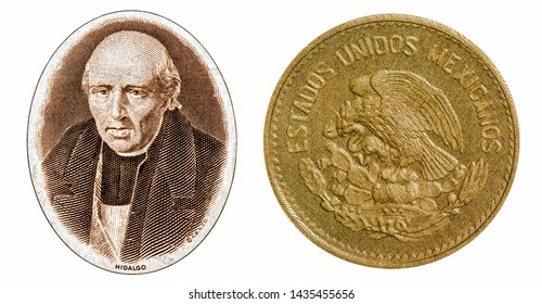 Miguel Hidalgo and Mexican eagle and snake emblem Legend from the Aztec civilization to come live in central Mexico. portrait  from 100 Mexico peso banknote. Mexican money. Closeup Collection