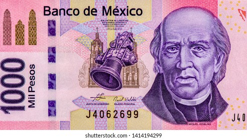 Miguel Hidalgo portrait from Mexican money 1000 Pesos Banknotes, the face of the independence leader Miguel Hidalgo. Mexico money currency. Close Up UNC Uncirculated - Collection.