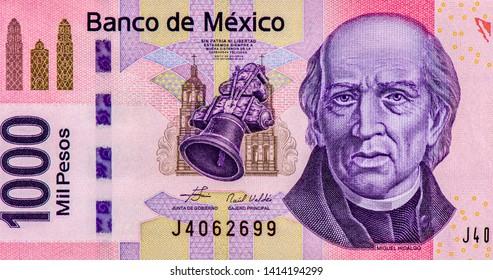 Miguel Hidalgo Portrait from Mexico 1000 Pesos Banknotes.
