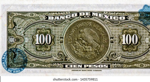 Miguel Hidalgo portrait on Mexico peso Father of Mexican independence. from 100 Mexico peso 1972 banknote. Mexico money. Closeup Collection