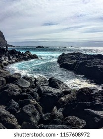 São Miguel Island - Azores (Portugal): Ponta da Ferraria Volcanic Beach with a Natural Pool. April 2017.