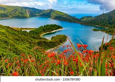 """São Miguel/Azores/Portugal - August 16, 2019 """"Lagoa do Fogo"""" in São Miguel Island, Azores"""