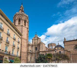 Miguelete, the belfry tower of the cathedral and the Basilica of the Assumption of Our Lady of Valencia, Spain (Saint Mary's Cathedral or Valencia Cathedral)
