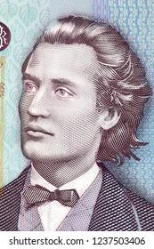 Mihai Eminescu portrait from Romanian money