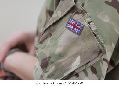MIHAIL KOGALNICEANU, ROMANIA - APRIL 27, 2018: British flag on a Royal Air Force soldier