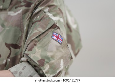 MIHAIL KOGALNICEANU, ROMANIA - APRIL 27, 2018: British flag on a Royal Air Force soldier