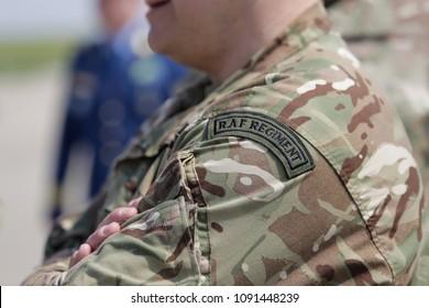 MIHAIL KOGALNICENU, ROMANIA - APRIL 27: Royal Air Force symbol on a British soldier uniform