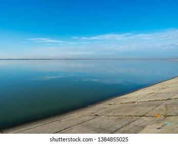 Mihailesti lake, Romania. This is a dam lake near Bucharest, built on Argeș river.