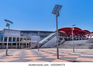 """MIHAMA, CHIBA / JAPAN - MAY 30 2019 : Landscape of """"Makuhari Messe"""". It is one of the largest convention centers in Japan. There are international exhibition hall and international conference hall."""
