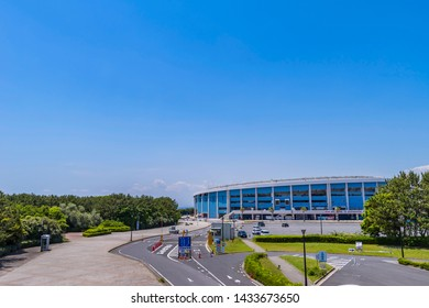 "MIHAMA, CHIBA / JAPAN - MAY 30 2019 : Landscape of ""ZOZO Marine Stadium"". It is a home ground of professional baseball team ""Chiba Lotte Marines""."