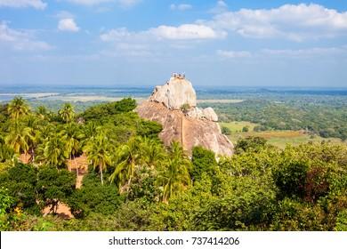 Mihintale Aradhana Gala or Meditation Rock at the Mihintale ancient city near Anuradhapura, Sri Lanka