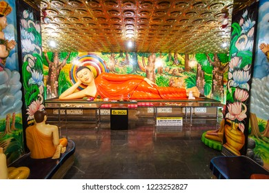 MIHINTALE, SRI LANKA - FEBRUARY 11, 2017: Temple inside Maha Stupa or Maha Seya in the Mihintale ancient city near Anuradhapura, Sri Lanka