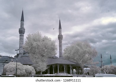 mihrimah sultan cami camii minaret infrared photo holy mosque with snowy trees
