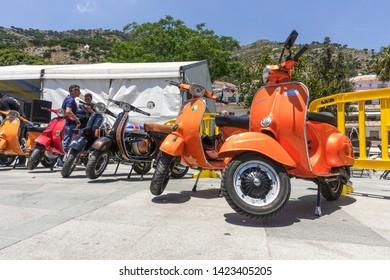 Mijas, Andalusia/ Spain. June 4. 2017. Vintage Vespa piaggio Scooters at motorbike meeting.