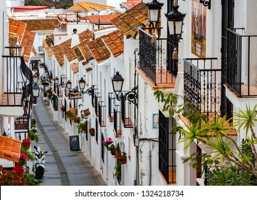 Mijas, Spain, February 20 2019: Mijas village in Andalusia with white houses, Spain