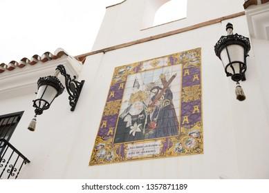 MIJAS, SPAIN - SEPTEMBER 27, 2019. Charming white village street in Mijas, Andalusia, Spain.