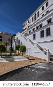 Mijas Town Hall, rear view. Plaza de la Constitucion, Mijas Pueblo, Costa del Sol, Andalusia, Spain.