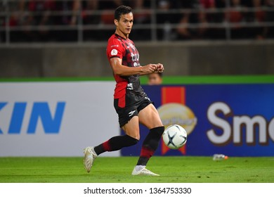 Mika Chunuonsee of Bangkok United in action during The Football Thai League between Bangkok United and SCG Muangthong United at True Stadium on March 02,2019 in Pathum Thani, Thailand