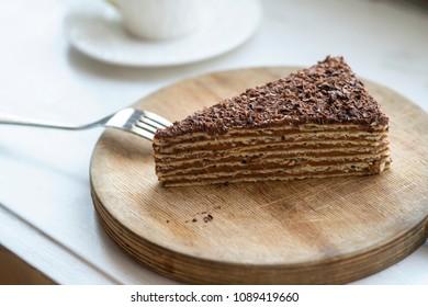 mikado cake on wooden board
