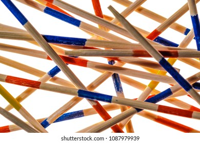 Mikado is a pick-up sticks game originating in Europe, played with a set of same-length sticks . High key macro.