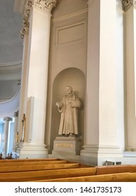Mikael Agricola statue in cathedral of Helsinki. He was lutheran clergyman and  founder of Finnish literary. 30th June 2019. Finland, Helsinki.