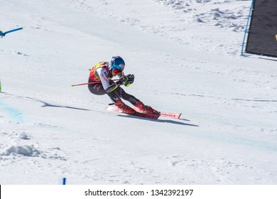 MIKAELA SHIFFRIN USA takes part in the RACE run for the women's Giant Slalom race of the FIS Alpine Ski World Cup Finals at Soldeu-El Tarter in Andorra, on March 17, 2019.