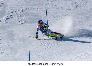 MIKAELA SHIFFRIN USA takes part in the RACE run for the men´s Slalom race of the FIS Alpine Ski World Cup Finals at Soldeu-El Tarter in Andorra, on March 17, 2019.