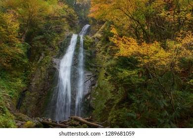 Mikaeri Falls (waterfall) and vibrant autumn colors at Dakigaeri Gorge autumn foliage, Kakunodate, Akita Prefecture
