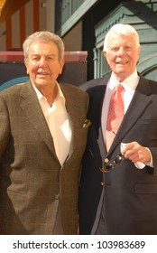 Mike Connors and Peter Graves  at the Hollywood Walk of Fame induction ceremony for Peter Graves, Hollywood, CA. 10-30-09