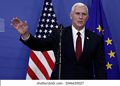 Mike Pence, Vice President of the United States welcomed by Jean-Claude Juncker, President of the European Commission in Brussels, Belgium on Feb. 20, 2017 .