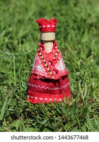 Mikhailov, Ryazan region, Russia - June 4, 2019: Traditional folk wooden doll in a peasant costume of Ryazan province.