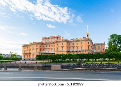 Mikhailovskiy Castle in the perspective view, St Petersburg, Russia, Summer 2017
