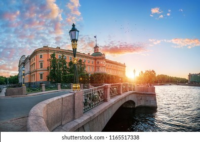 Mikhailovsky (Engineers) Castle in St. Petersburg near Fontanka in the rays of the setting sun