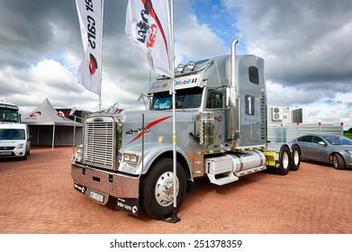 Mikolajki, Masuria, Poland, June 12 2014: Exhibition of trucks at the hotel Golebiewski, the Masurian Lakes district in Northern Poland